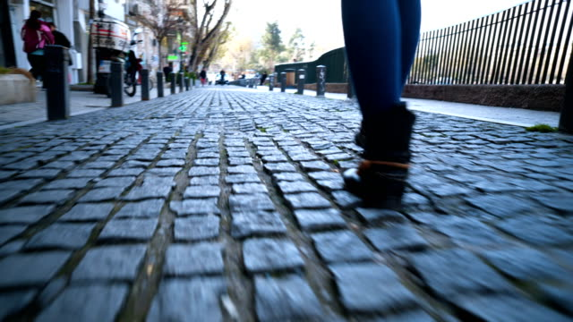 walking on cobblestone streets - cobblestone stock videos & royalty-free footage