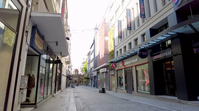 walking on ermou, the main shopping street of athens, greece - town stock videos & royalty-free footage
