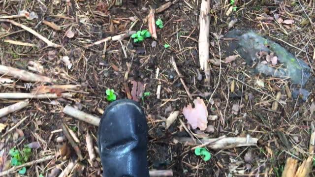 Fuß auf Waldweg mit Stiefeln