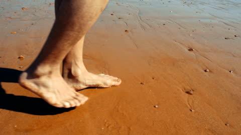 walking on sandy beach - human leg stock videos & royalty-free footage