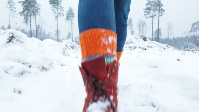 Walking on snow in forest