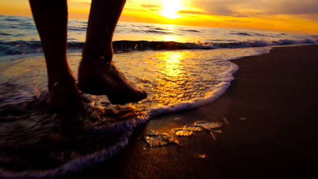 walking on the beach - footsteps in the sand - footprint stock videos & royalty-free footage