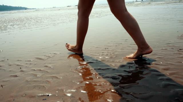 vídeos y material grabado en eventos de stock de caminatas en la playa - pisada