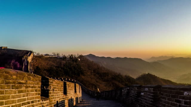 walking on the mutianyu great wall in beijing, china - mutianyu stock videos & royalty-free footage