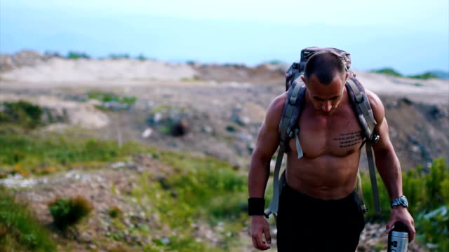 walking on the rocky mountain - shirtless stock videos & royalty-free footage