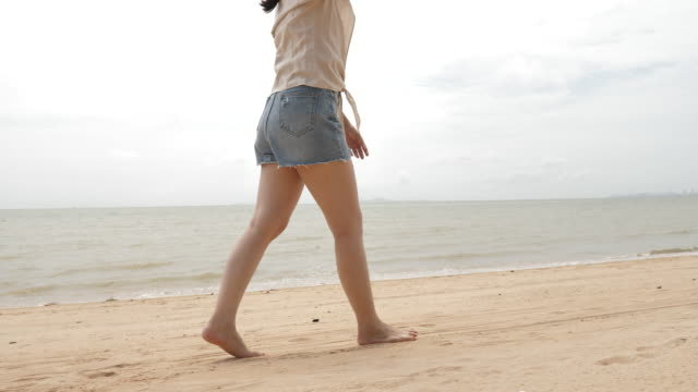 Walking on the sandy beach