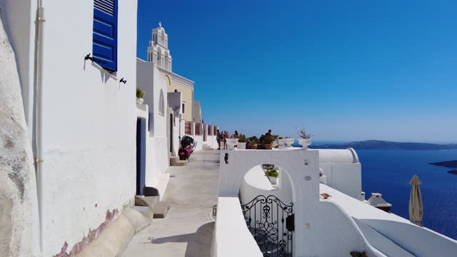 walking on the streets of santorini, greece - cyclades islands stock videos & royalty-free footage