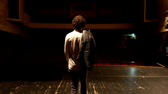 Walking on the theater stage