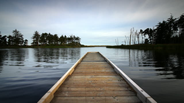 POV  walking out to end of boat dock on tranquil lake in early morning
