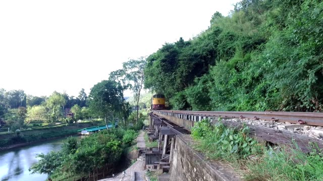 walking over death railway, thailand - railway bridge stock videos & royalty-free footage