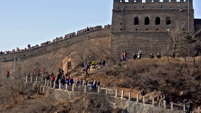 walking path is beside badaling great wall of china - badaling great wall stock videos & royalty-free footage