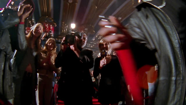 walking point of view past bodyguard, reporter, cameraman, photographers, and excited groupies on red carpet - ロープ仕切り点の映像素材/bロール