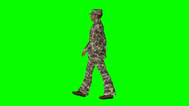 walking soldier green screen (loopable) - green matte stock videos & royalty-free footage