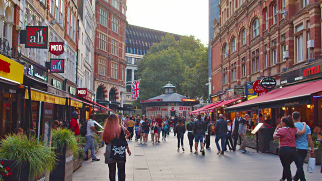 walking street in london with many restaurants and cafes. - canteen stock videos & royalty-free footage