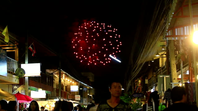 walking street under fireworks - street party stock videos & royalty-free footage