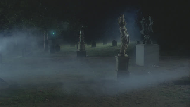 walking pov through cemetery - night - cemetery stock videos & royalty-free footage