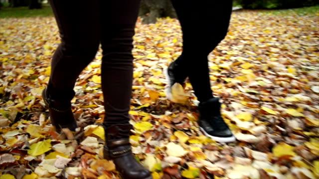 vidéos et rushes de marcher à feuilles - beaux pieds et femme