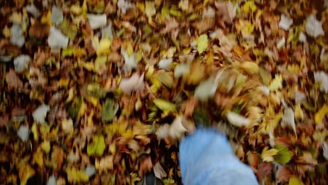 fuß durch blätter - schuhwerk stock-videos und b-roll-filmmaterial