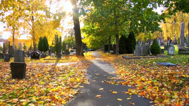 Walking through the graveyard.