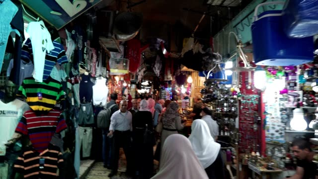 Walking through the Muslim Quarter of the old city of Jerusalem