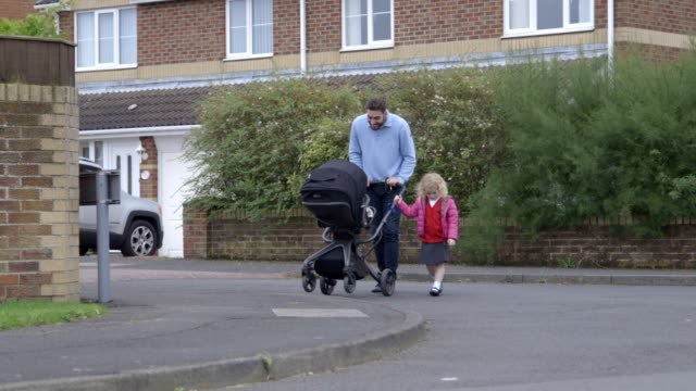 walking to school for the first time - primary school child stock videos and b-roll footage