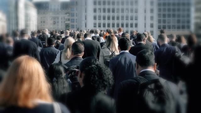 walking to work, commuters. - crowd of people stock videos & royalty-free footage