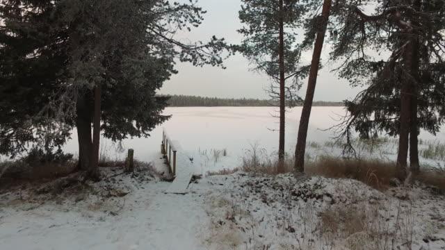 pov walking towards a frozen lake, pallas-yllästunturi national park, lapland, finland - 30 seconds or greater stock videos & royalty-free footage