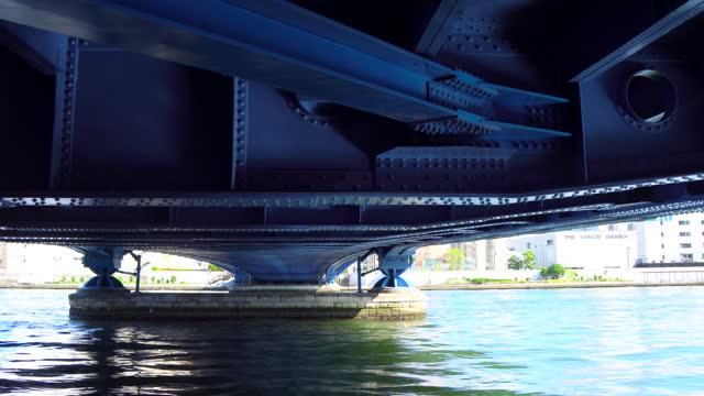 walking under the kiyosu bridge - moving past stock videos & royalty-free footage