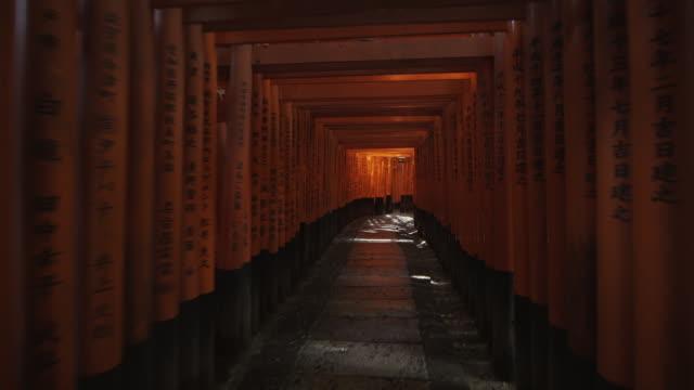 POV Walking under Torii gates leading to inner Fushimi Inari Taisha shrine, Kyoto, Japan