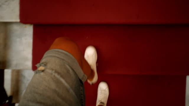 walking up the stairs - high angle view stock videos & royalty-free footage