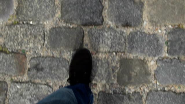 walking pov - cobblestone stock videos & royalty-free footage