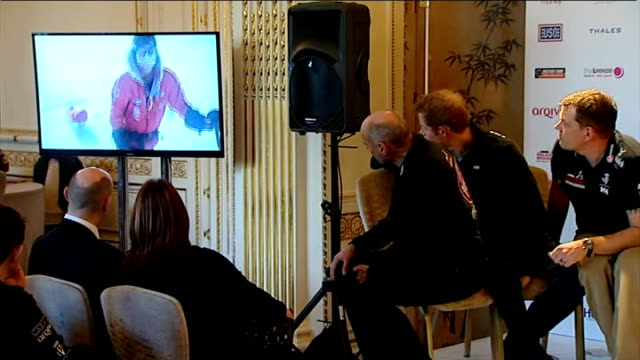 vídeos y material grabado en eventos de stock de walking with the wounded south pole challange prince harry attends press conference **flashlight prince harry and others watching film about walking... - 2014