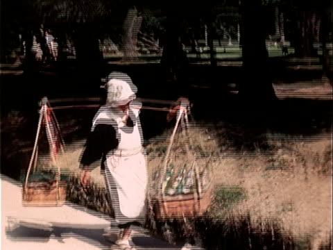 1939 walking pov woman carrying baskets on shoulder/ japan - 1930~1939年点の映像素材/bロール