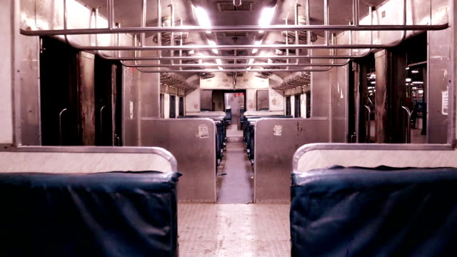 Walkthrough inside of passenger train