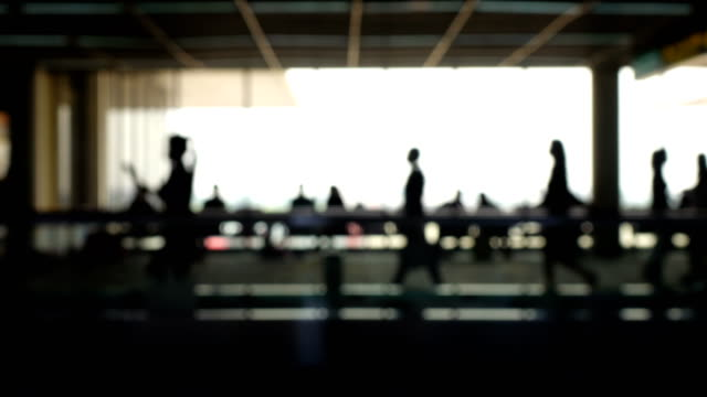 walkway airport blurry silhouette. - in silhouette stock videos & royalty-free footage