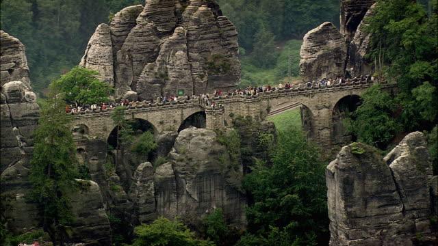 aerial walkway along bastei rock formation, bastei, saxony, germany - sachsen stock-videos und b-roll-filmmaterial