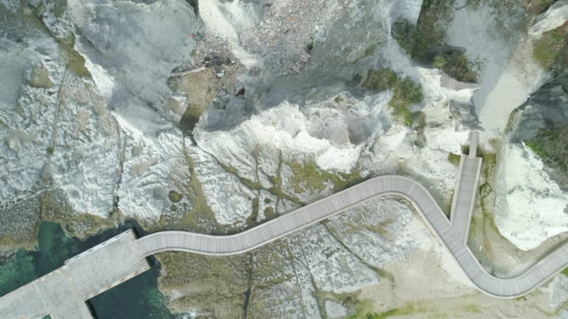 walkway by hotokegaura rocks, overhead aerial - aomori prefecture stock videos & royalty-free footage