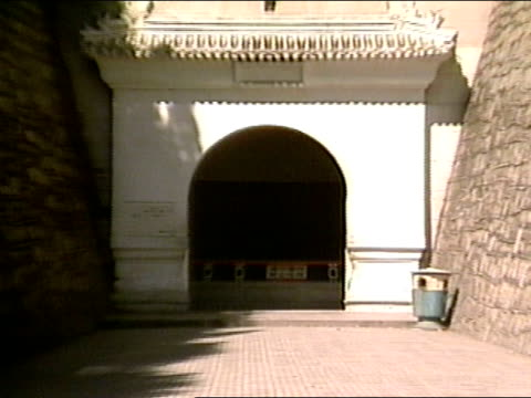 walkway entrance int palace carved arch doorway leading to chamber - ming tombs stock videos and b-roll footage