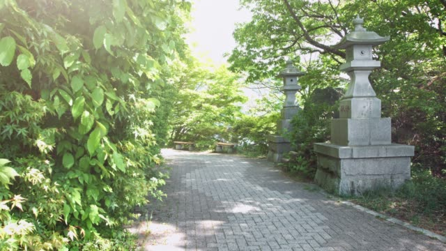 walkway with pagodas next to lake kawaguchi - garden path stock videos and b-roll footage