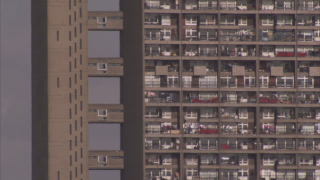 walkways connect the lift shaft to the apartments of trellick tower. - tower stock videos & royalty-free footage