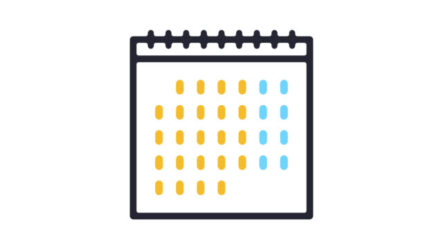 vídeos de stock e filmes b-roll de wall calendar line icon animation with alpha - dia
