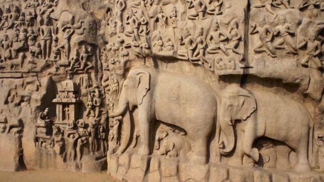 wall carving in mahabalipuram, tamil nadu, india - carving craft product stock videos & royalty-free footage