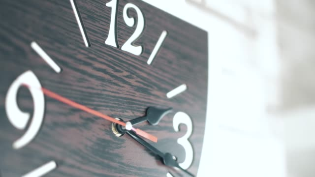 wall clock running, movement of clock hands - single object stock videos & royalty-free footage