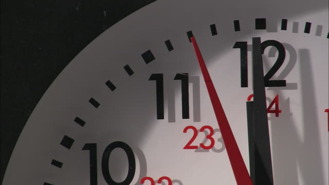 vidéos et rushes de ecu, wall clock showing 12 o'clock - minuit