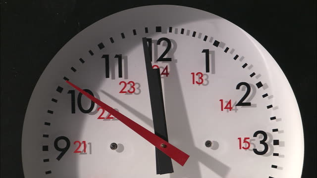 cu, wall clock ticking - midday stock videos & royalty-free footage