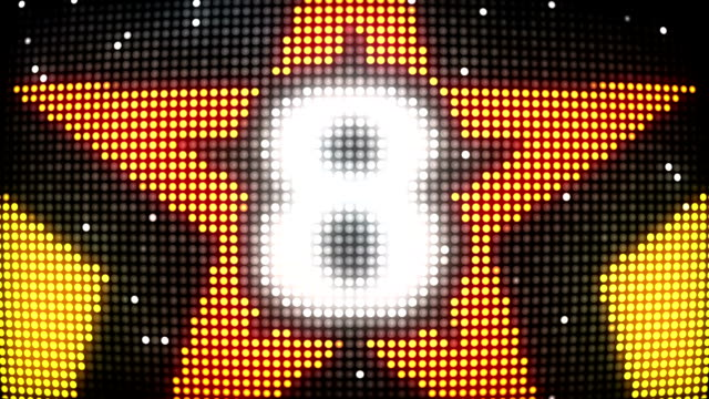 LED Wall Countdown - Orange & Yellow Stars (Full HD)