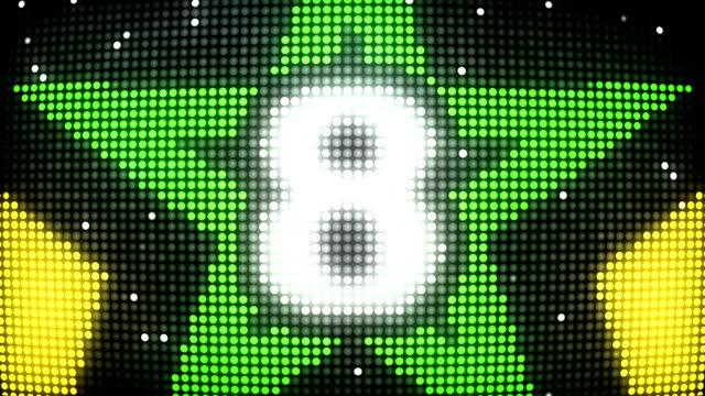 LED Wall Countdown - Yellow & Green Stars (Full HD)