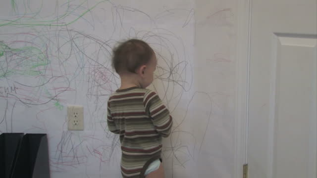wall drawing 01 - multi-format progressive - drawing activity stock videos & royalty-free footage
