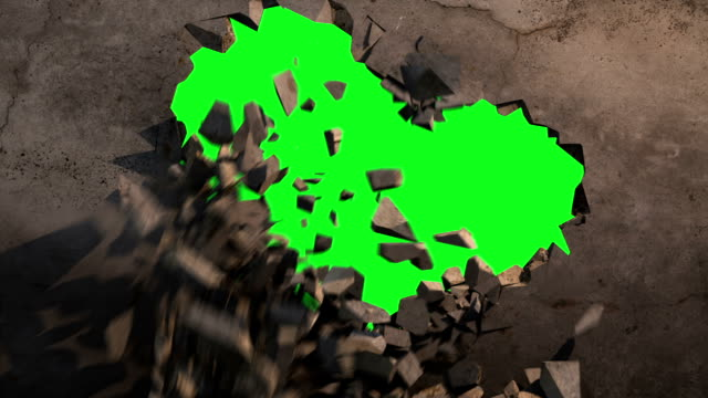 Wall explode green screen