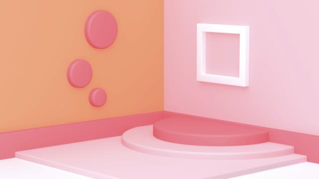 wall floor corner pink orange white geometric scene motion 3d rendering - still life stock videos & royalty-free footage